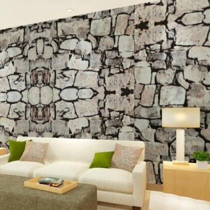 ФОТО beibehang 3D Luxury Natural Grey Brick Wall Stone Rock Slate Effect 10M Vinyl Wallpaper Roll papel de parede  pintado roll