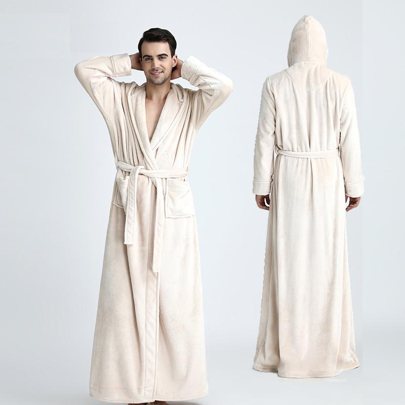 Men Hooded Extra Long Thermal Bathrobe Plus Size Winter Flannel Thickening Warm Kimono Bath Robe Male
