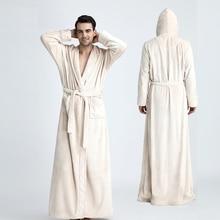 Men Hooded Extra Long Thermal Bathrobe Plus Size Winter Flan