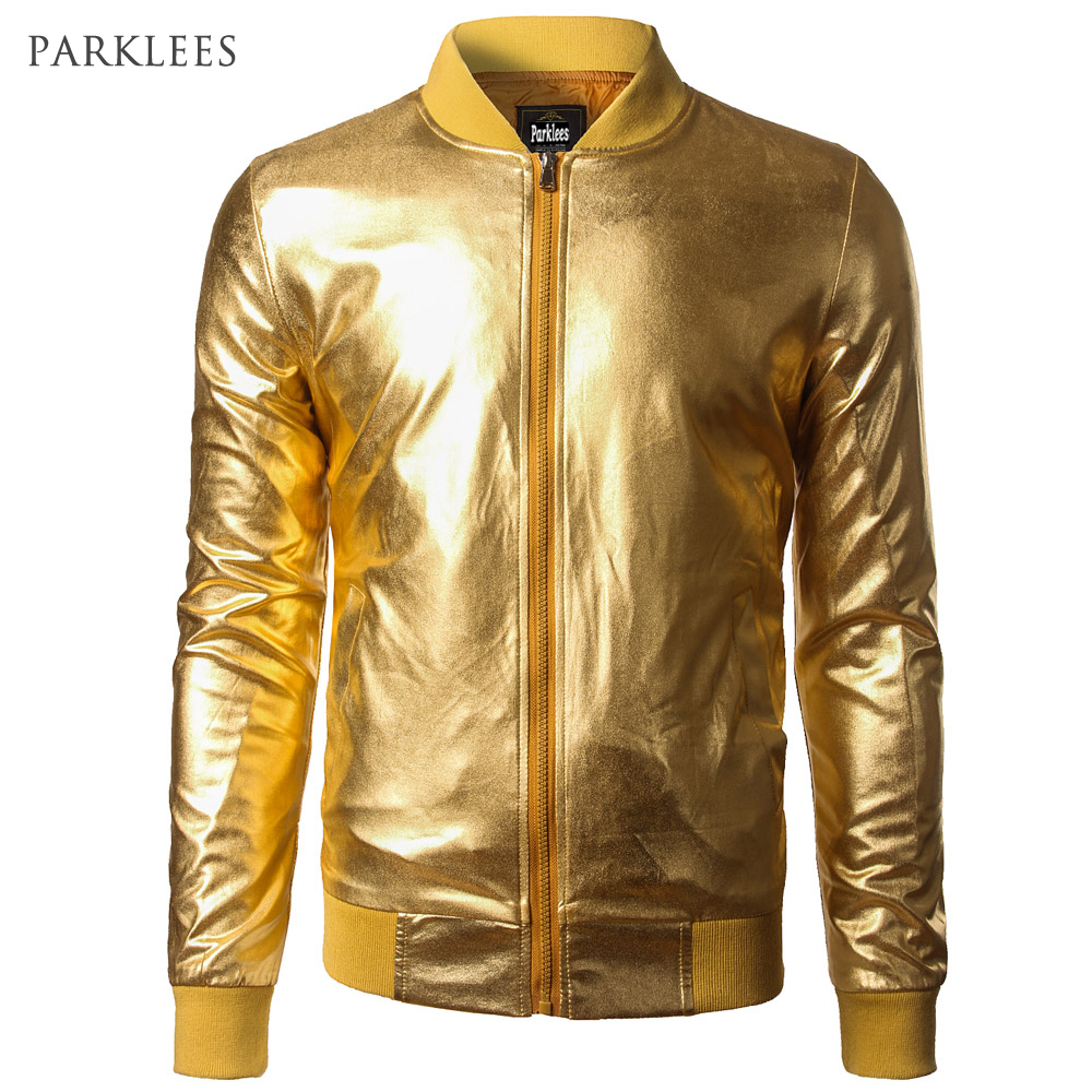 New Trend Metallic Gold Bomber Jacket Lelaki / Wanita Veste Homme 2016 Night Club Fesyen Slim Fit Zipper Baseball Varsity Jacket