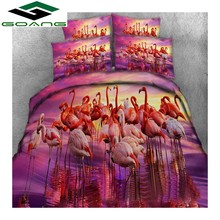 GOANG Queen bedding set bed sheet duvet cover pillow case 3d digital printing Flamingo luxury home textiles