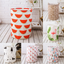 Pouch Clothing-Storage-Bucket Laundry-Basket Household Barrel-Standing-Toys Folding Cartoon