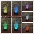 Envío de la Nueva 2017 la decoración del hogar de La victoria de la noche 3D luz colorida de la lámpara LED táctil 7 que cambia de color de mesa de dormitorio luz