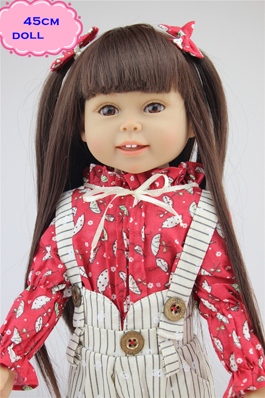 Hot Sale Full Vinyl Sweet NPK American Girl Doll With Soft 18inch Doll Clothes 45cm Boneca Reborn Realista Kids Toys For Child lifelike american 18 inches girl doll prices toy for children vinyl princess doll toys girl newest design