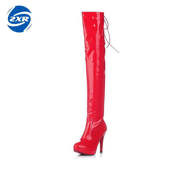 Women Long Boots Stretch Pu Red Black Patent Leather Over The Knee High Sexy Ladies Party High Heels Platform Shoes stylish golden metal splicing black frame sunglasses for women page 3