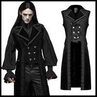 Панк рейв мужские готические куртки Виктория великолепный жилет темно полосатый бархат двубортный этап Peformance вечерние мужские пальто