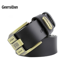 Фотография 2017 High quality 100% cowhide genuine leather belts for men brand Strap male pin buckle fancy vintage jeans cintos
