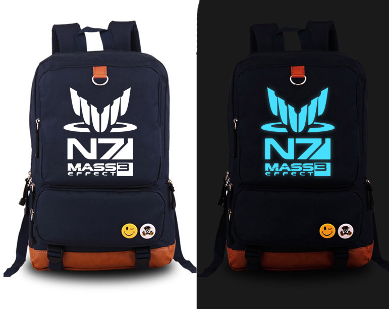 Hot Game Mass effect N7 cosplay Backpack Fashion Canvas Student Luminous Schoolbag Unisex Travel Bags стоимость