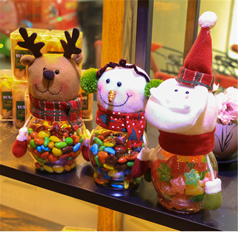 1Pcs Cloth 25cm Desktop Decoration Children Candy Cans For Home Party Christmas Tree Holders Room Store Shop Festival Santa