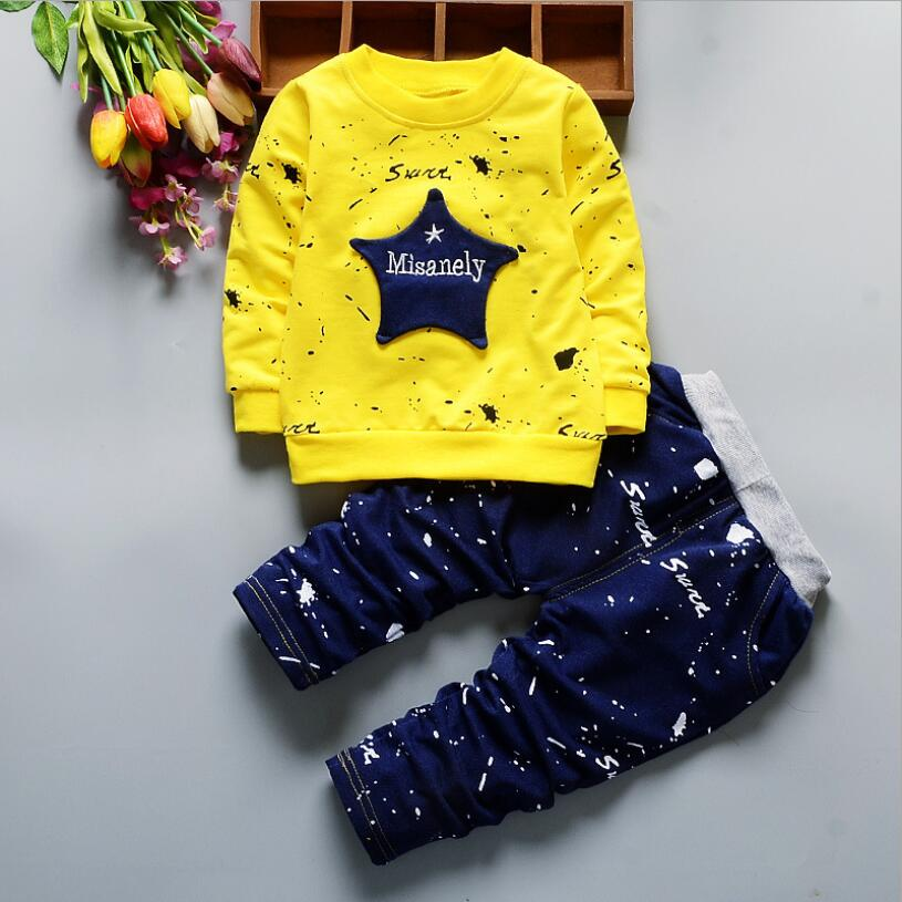 Primavera estrela do bebê da menina menino roupas infantis ternos casuais esporte algodão t camisa calças 2 pçs/sets criança criança agasalho