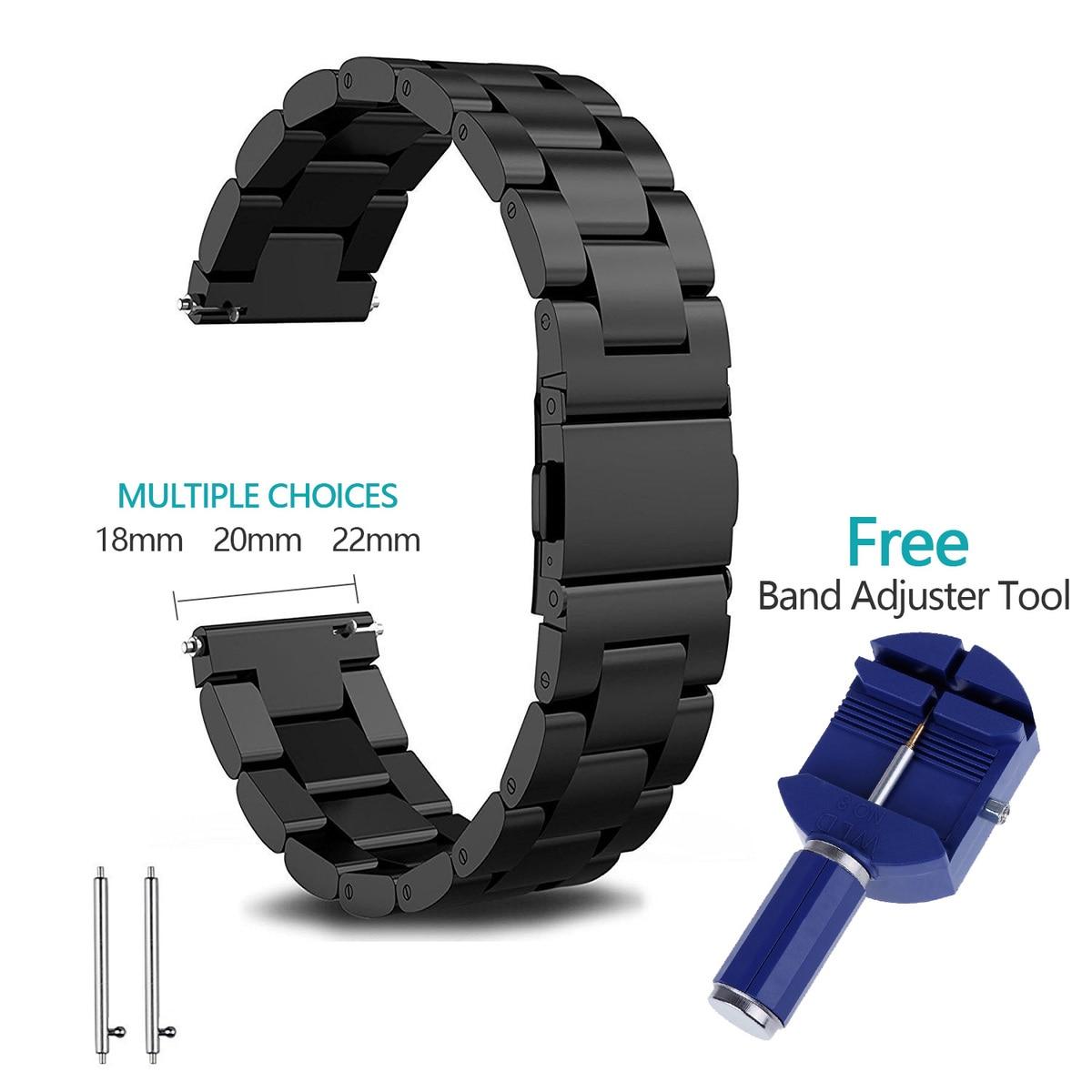 18mm 20mm 22mm bracelet de montre en acier inoxydable pour Samsung Gear S2 S3 montre intelligente lien bracelet noir pour le remplacement de la vitesse S2