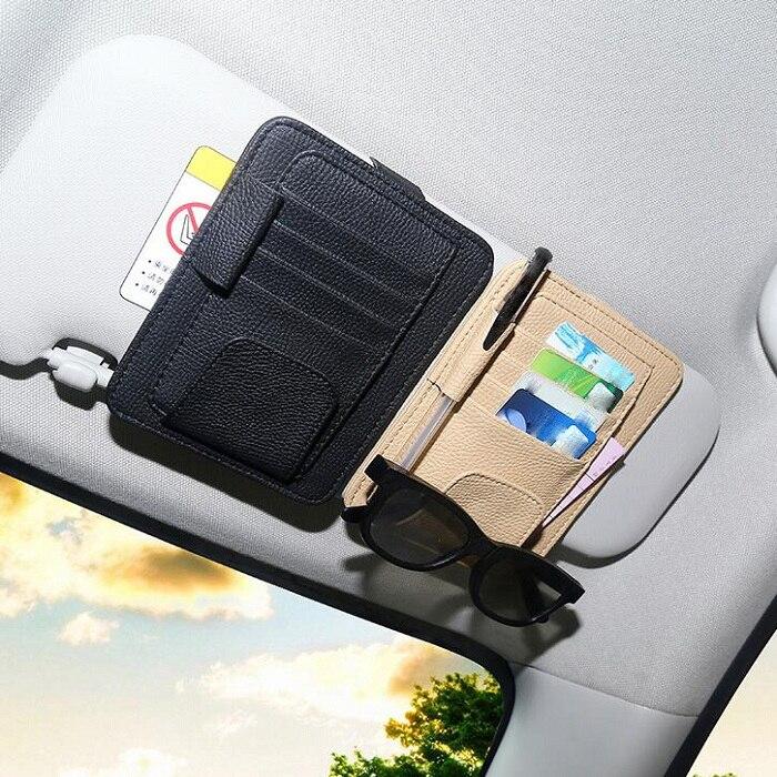 rete Car Styling Inerior Accessories Car Sun Visor Sunglasses Ticket Receipt Card Clip Storage Holder artificial