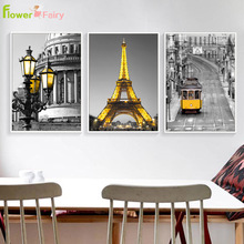 Paris Tower Scenery Wall Art Canvas Painting Bus Nordic Poster Decorative Pictures For Living Room Modern Prints Unframed