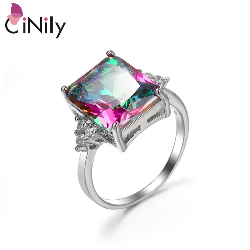 Cinily Jewelry Stone Ring-Size Wedding-Gift Mystic Silver-Plated Women Zirconia for 6-10