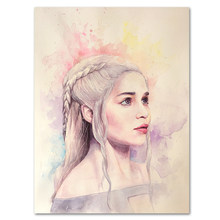 Game of Thrones Silk Art Poster Daenerys Targaryen Mother of Dragons Wall Decor Pictures Jon Snow Watercolor Prints Fabric Art(China)
