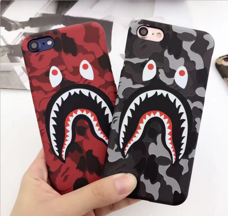 AIBOR Store NEW Hot Top Quality Cool Fashion Shark Case For iPhone 7 6 6s Plus Bape Shark Army Phone Case Cover For iPhone 6S 5 5S SE Matte