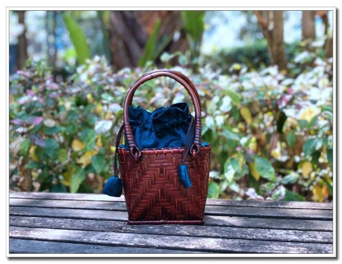 HANSOMFY | Плетеная соломенная сумка ручной работы, пляжная сумка в богемном стиле, летняя шикарная мини бамбуковая Сумочка, Экологически чиста... - 2
