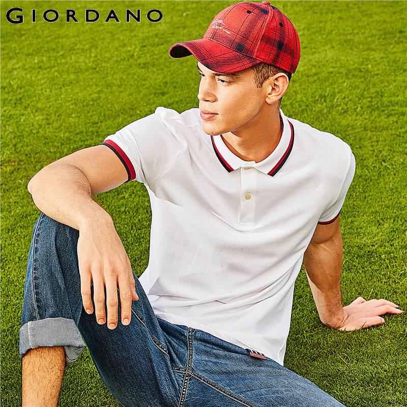 Giordano Men   Polo   Shirt Soft Cotton Short Sleeves Pique   Polos   Mens Casual Wear Homme Marque   Polo   Branded Solid Tops Man