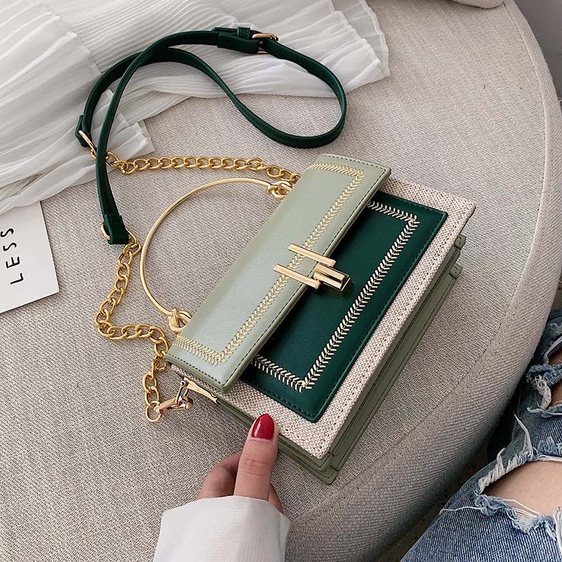 Contrast Color Pu Leather Crossbody Bags For Women 2020 Chain Messenger Shoulder Bag With Metal Handle Lady Tote Handbags