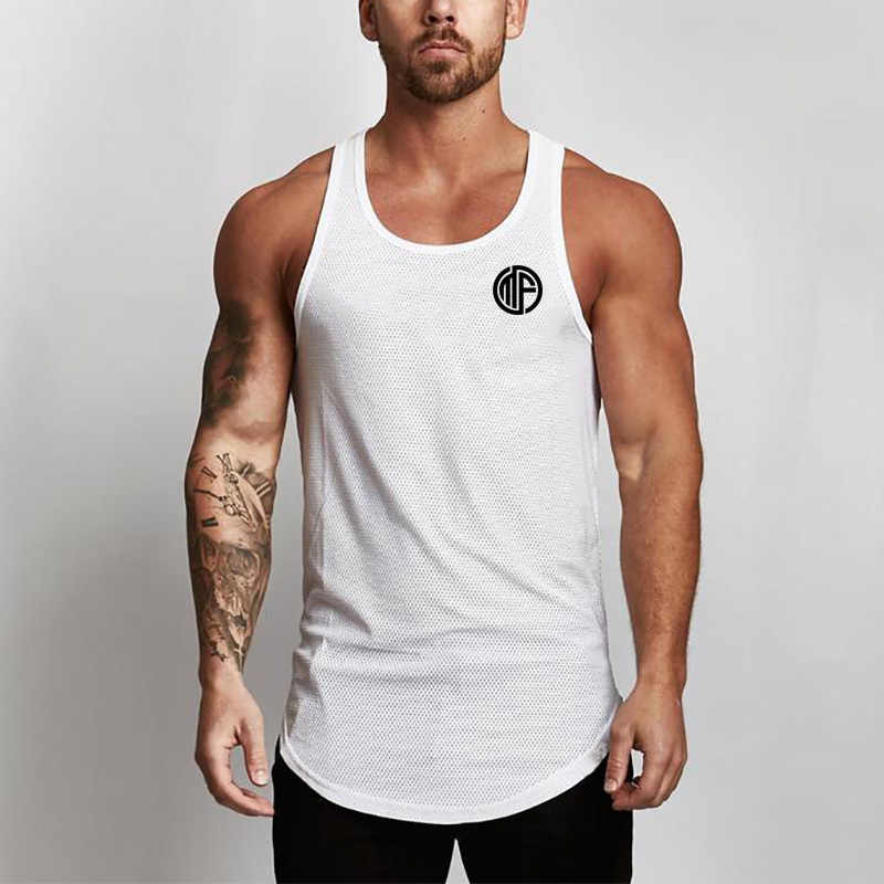 Nowa markowa odzież letnia podkoszulki męska koszulka na ramiączkach topy koszula, sprzęt kulturystyczny Fitness męska siatkowa kamizelka Tanktop