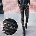 2016 New Skinny Military Army Camouflage Mens Leather Pants Joggers Pants For Men Casual Fashion Trousers 28-33