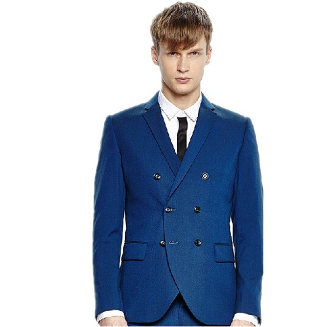 Europa para hombre de traje cruzado doble CM 0465 azul