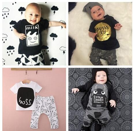 Hot sale Summer 2018 2pcs Newborn Infant Baby Boys Kid Clothes T-shirt Tops + Pants Outfits Sets 0-24 Childrens Clothing Set