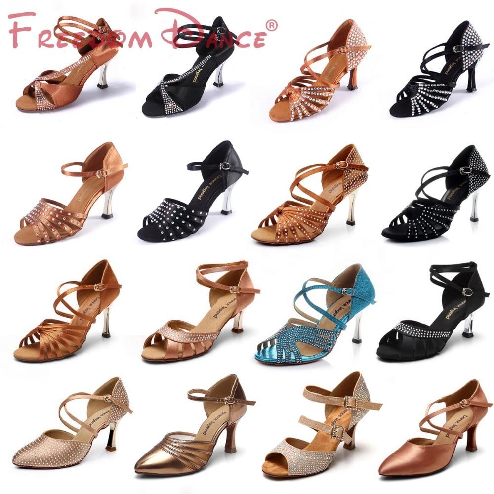 Quality Women s Satin High Heel Latin Dance Shoes Ballroom Tango Dancing Shoe Rhinestones Sapato Feminino