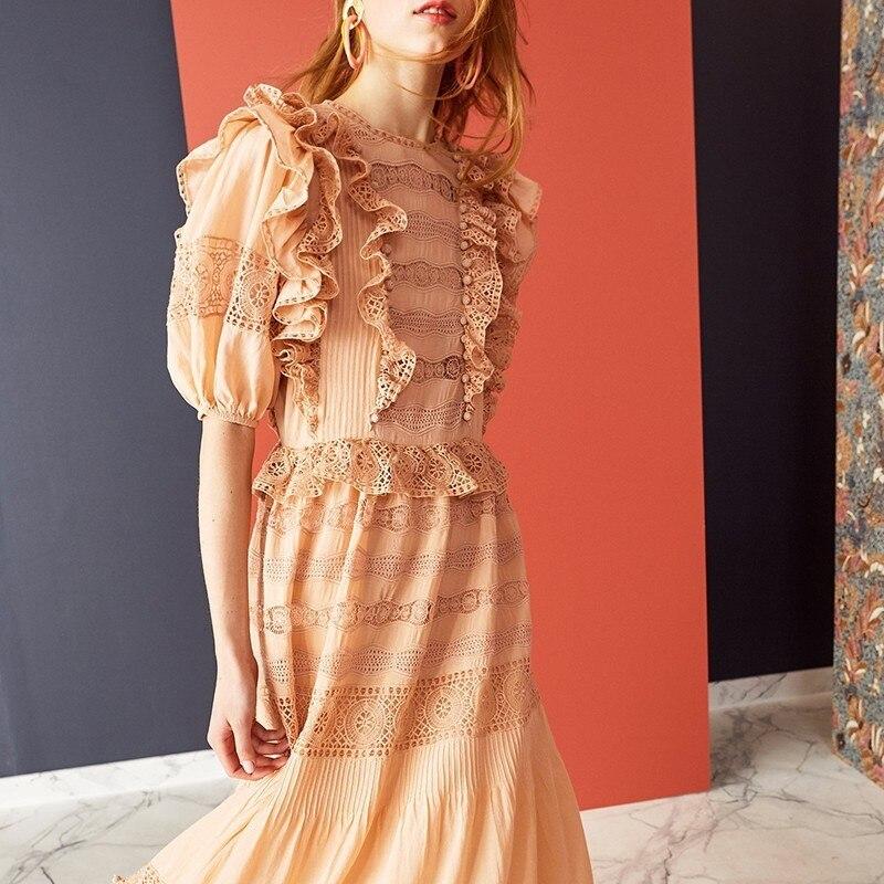 Kadın Giyim'ten Elbiseler'de GALCAUR Yaz Saç topları Dantel Patchwork Elbise O Boyun Yarım Kollu Yüksek Bel Midi Elbiseler Kadın Moda 2019 zarif'da  Grup 2