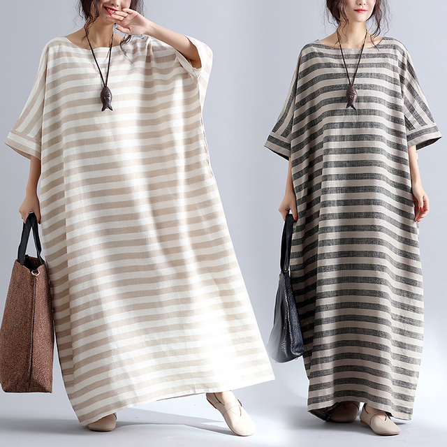 42f77f92d8 Plus Size 5XL NEW Summer Women Elegant Vintage Striped Cotton Linen Tops  Lady Female Large Big Long Casual Oversized Robe Dress