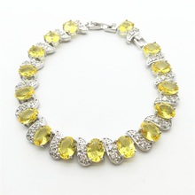 Charm Women Fashion Jewelry Bracelets 10KT White Gold Filled AAA Gold yellow Zircon Stone Peridot Color NEW Arrival