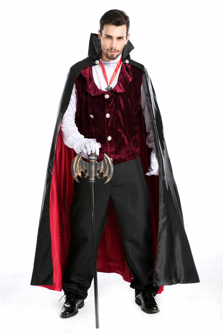 Costume Halloween Man.Deluxe Vampire Dracula Costume Halloween Party Man Vampire Cosplay Outfit Carnival Fantasia Fancy Dress