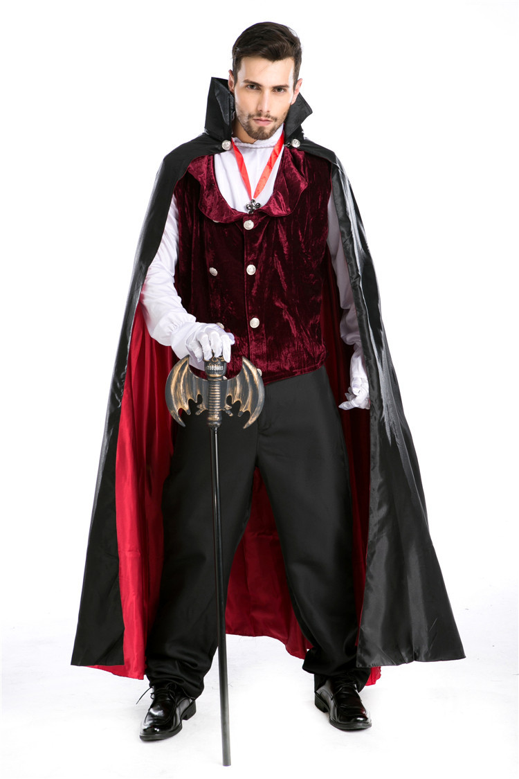 Deluxe Vampire Dracula Costume Halloween Party Man Vampire Cosplay Outfit Carnival Fantasia Fancy Dress