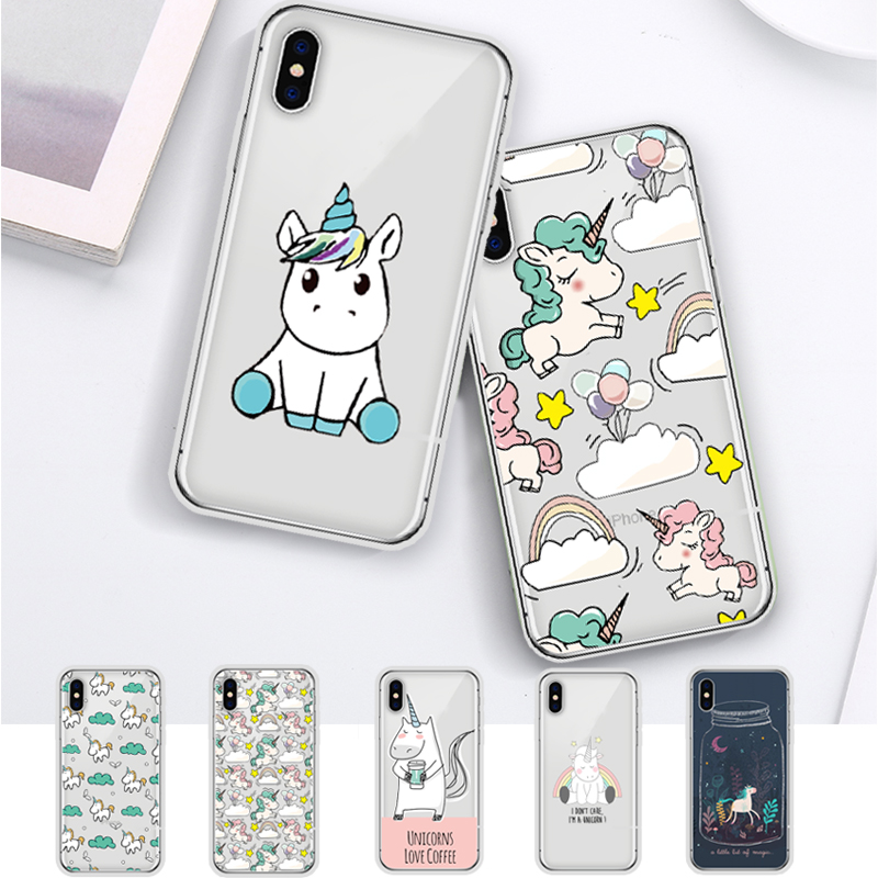 DIFFRBEAUTY Cute Unicorn Cartoon Transparent Ultra Thin Soft Silicone Phone Case Contraportada para iPhone X 6 S 7 8 Plus 5S