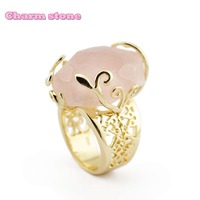 Natural White Crystal Ring Gifts Fashion jewelry women exquisite 24K gold beautiful Marine fossils open adjustable ring