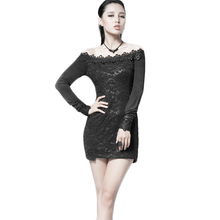 Punk Gothic Women's Lace Dresses Black Color Long Sleeves Sexy Mini Dress Female Ladies Sheath Empire Chian Cheap Clothes PQ027