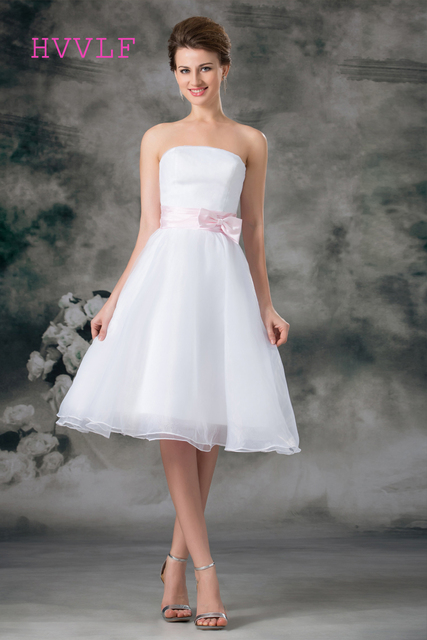Short 2018 Wedding Dresses A Line Strapless Chiffon Bow Knee Length Cheap Boho Gown