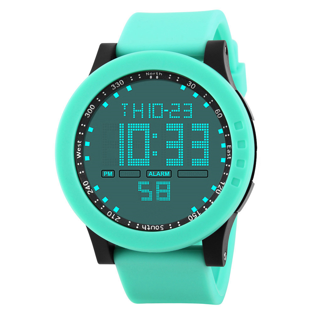 цена на Fashion LED Men Watch Digital Waterproof Military Sport Date Silicone Watches in Black Blue Green Mens Watches Top Brand Luxury