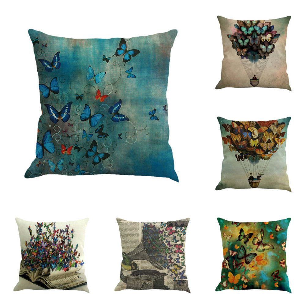 Butterfly Pattern Linen Cushion Cover Bed Sofa Throw Waist Pillow Case Decorative Pillowcases Home Office Chair Decor #L
