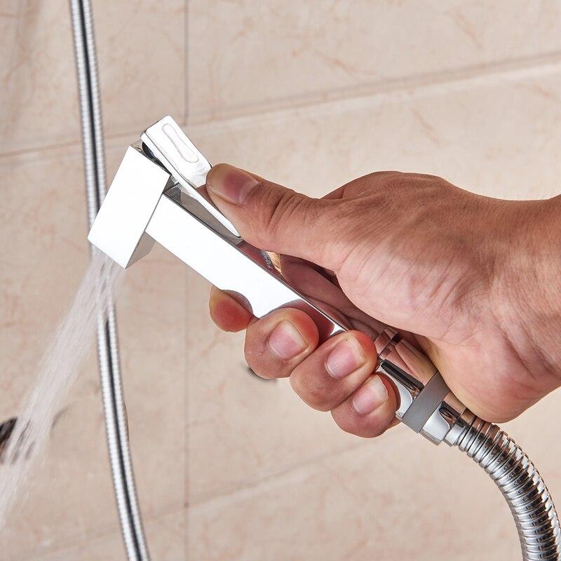 Chrome/black Bidet Faucet Brass Shower Tap Washer Mixer Muslim Ducha Higienica Cold Hot Water Mixer Crane Square Shower Non-Ironing Bidets & Bidet Parts