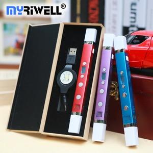 Image 2 - Caneta 3d myriwell canetas 3d, display led, carregamento usb, 3 d pen3d modelo smart3d impressão caneta melhor presente para Kidspen 3d impressão caneta 3 d