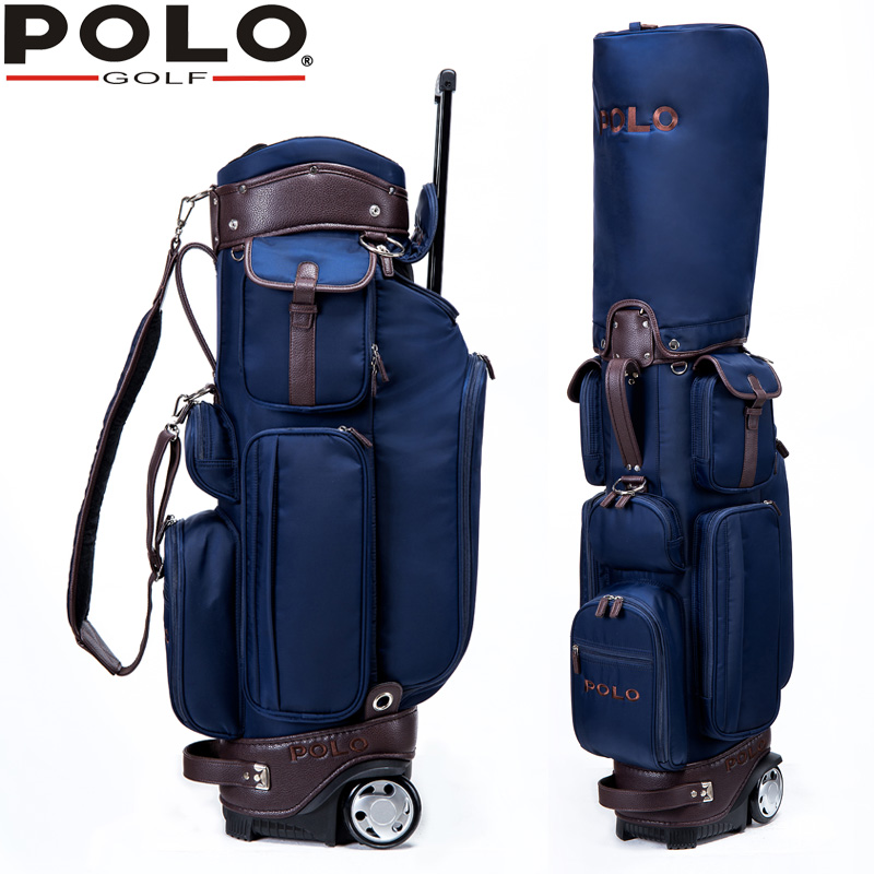 74d4f25114b Famous Brand POLO Golf Travel Wheels Standard Stand Caddy Bag Complete Golf  Set Bag Nylon golf