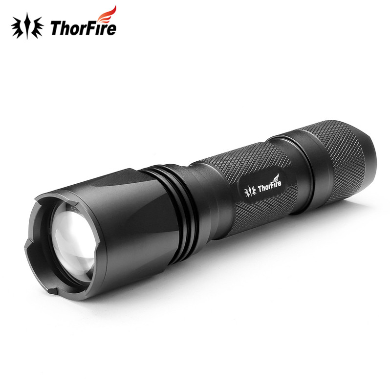 Original ThorFire TA13 3 Modes 550lm Zoomable XM-L2 LED Flashlight Adjustable 18650 aaa Torch Light for Camping Hiking Cycling high power led flashlight lamp 3 aaa batteries led torch zoomable mini torch lighting light for camping hiking 18020