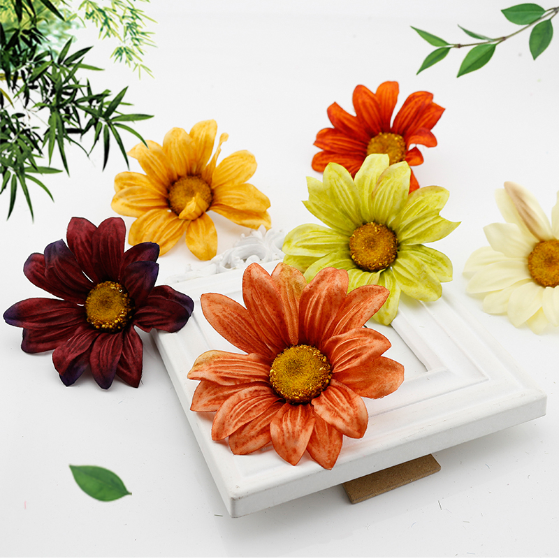 1 pcs Silk Gerbera Artificial Flowers head For Home Party Wedding Decoration DIY Wreaths Gift box Accessories Fake flower daisy