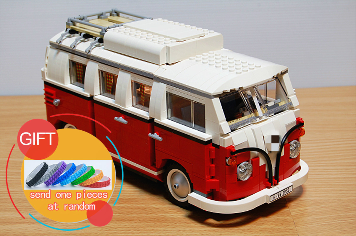 21001 1354Pcs Creator Volkswagen T1 Camper Van Model Building Kits Mini Compatible 10220 toys lepin lightaling led light set compatible with brand camping van 10220 building model creator decorate kit blocks toys