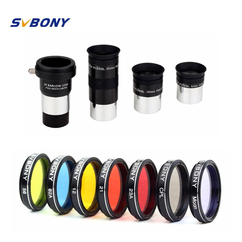 SVBONY 1.25 Eyepiece Plossl FMC 6/12/25mm+Filter 48 DE FOV 4 Design+2x Barlow Lens for Astronomy Binoculars Telescope W2625