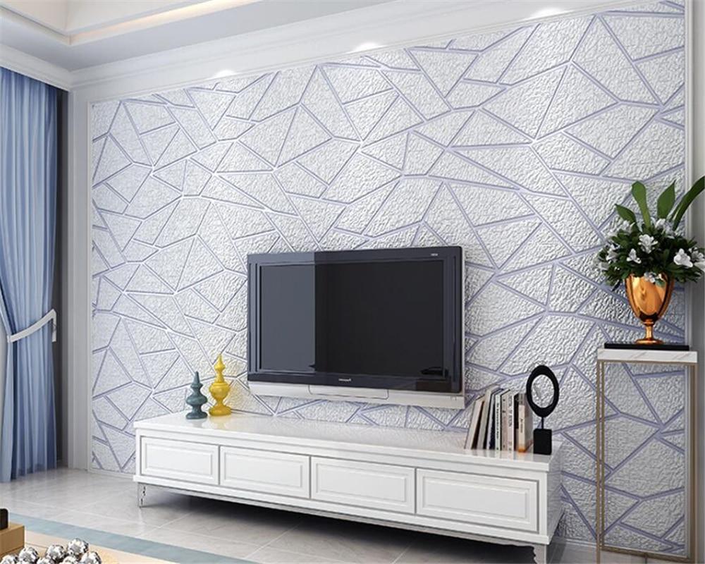 Papier Peint Chambre Moderne €52.83 21% de réduction|beibehang 3d deluxe salon tv fond 3d papier peint  chambre moderne papier peint beige brun papier peint rouleau papel de