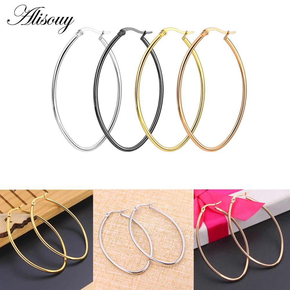 Alisouy une paire nouvelle mode ovale cerceau boucle doreille Vintage Punk ellipse cerceau boucle doreille pour les femmes offre spéciale oreille bijoux en gros