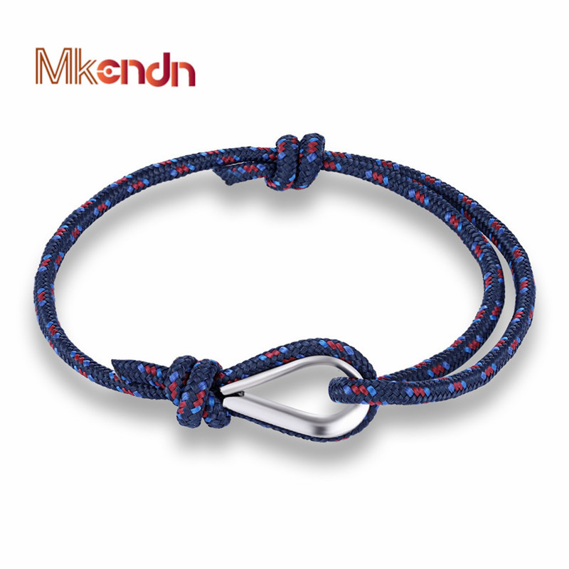 MKENDN New Arrival Fashion Sport Camping Parachute Navy Blue Cord Men Women Nautical Survival Rope Chain Bracelet Summer Style