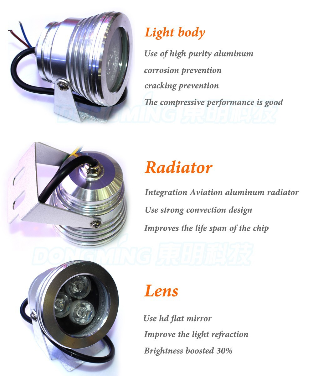 de iluminação IP68 À Prova D' Água de alumínio shell lente plano